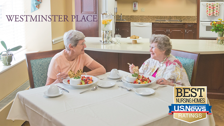 Skilled nursing clients who live at Westminster Placed enjoying a meal together.