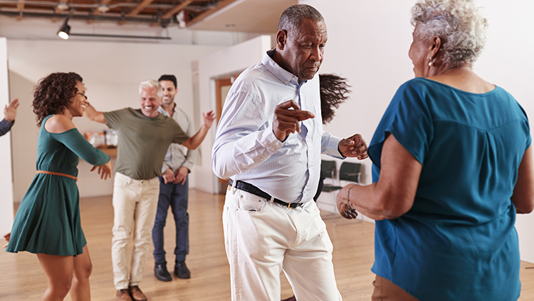 Seniors enjoying lifelong learning with dance lessons