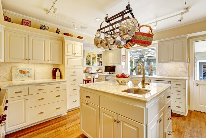 Small beautiful kitchen with organizational shelves and features